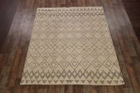 Geometric Moroccan Trellis Oriental Hand-Knotted Beige 8x10 Wool Area Rug