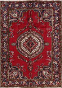 Vintage Geometric Tabriz Red Persian Area Rug 6x9