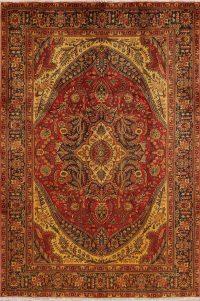 Vintage Geometric Tabriz Persian Area Rug 7x10