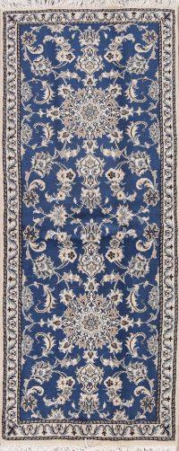 Blue Floral Nain Persian Runner Rug 3x6