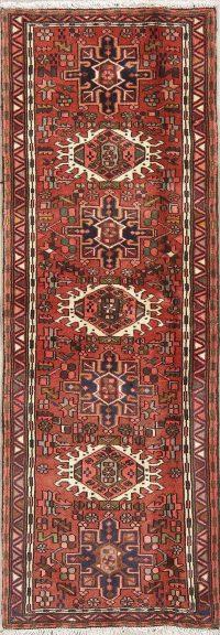 Red Geometric Gharajeh Persian Runner Rug 2x6