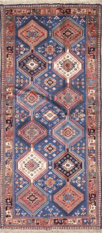 Vintage Geometric Yalameh Blue Persian Runner Rug 3x6