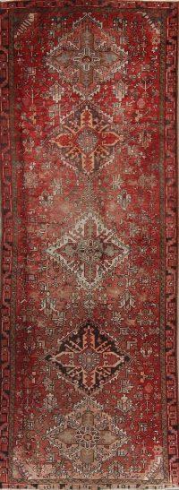 Red Geometric Heriz Serapi Persian Faded Runner Rug 4x11