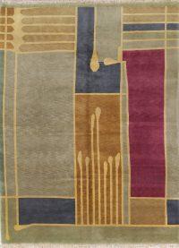 Abstract Nepal Tibetan Oriental Modern Area Rug Wool 9x12