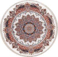 Floral Ivory Tabriz Turkish Oriental 7x7 Round Area Rug