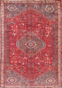 Vintage Animal Pictorial Red Tribal Kashkoli Persian 7x10 Wool Area Rug