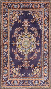 Vintage Floral Kashan Persian Hand-Knotted 5x8 Wool Area Rug