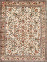 Vintage All-Over Floral Tabriz Persian Hand-Knotted 9x12 Wool Area Rug
