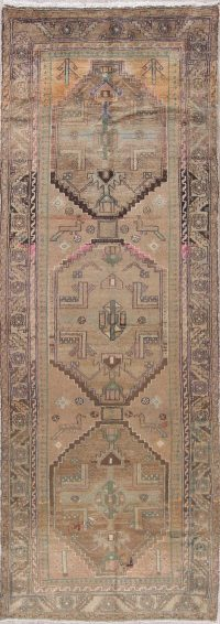 Vintage Tribal Geometric Hamedan Persian Distressed Runner Rug 3x10