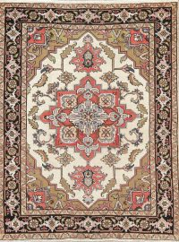 Antique Geometric Heriz Serapi Persian Hand-Knotted 5x6 Wool Area Rug