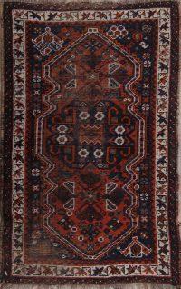 Pre-1900 Antique Geometric Qashqai Persian Hand-Knotted 3x4 Wool Rug