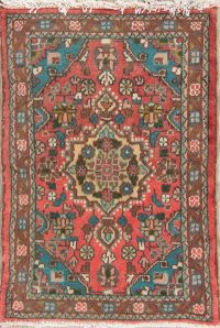 Floral Pink Hamedan Persian Hand-Knotted 2x3 Wool Rug