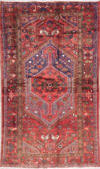 Tribal Geometric Hamedan Persian Hand-Knotted 4x7 Wool Area Rug