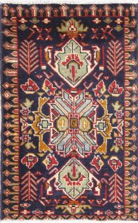 Geometric Navy Blue Balouch Persian 2x3 Wool Rug