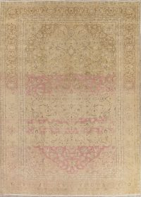 Muted Tabriz Persian 9x13 Over-dyed Distressed Area Rug