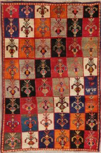 Multi-Color Gabbeh Persian Hand-Knotted 3x5 Wool Rug