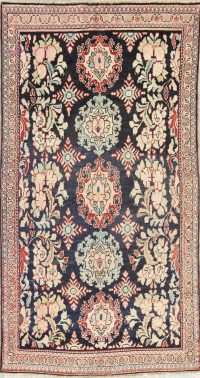 Antique Navy Blue Sultanabad Persian Runner Rug 5x9