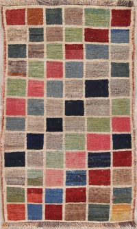 Checked Multi-Color Gabbeh Shiraz Persian Rug 2x4