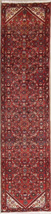 Red Geometric Hamedan Persian Runner Rug 3x10