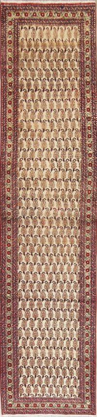 Ivory Paisley Tabriz Persian Wool Runner Rug 3x12