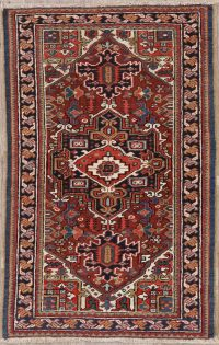 Geometric Red Heriz Persian Wool Rug 3x5