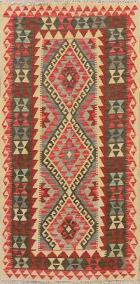 Flat-Weave Kilim Turkish Runner Rug Wool 3x6
