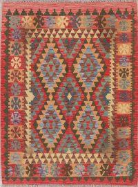 Color-full Geometric Turkish Kilim Rug Wool 4x6