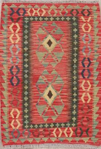 Flat-Weave Kilim Turkish Rug Wool 3x4