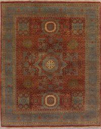 Red Geometric Art Deco Indian Wool Rug 8x10