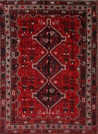 Vintage Tribal Qashqai Shiraz Red Persian Area Rug 7x10