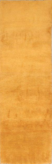 Thick Pile Solid Yellow 3x8 Gabbeh Shiraz Persian Rug Runner