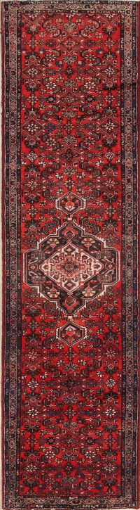 Vintage Geometric Hamedan Persian Runner Rugs 3x13