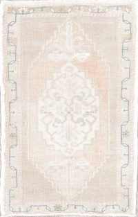 Oushak Turkish Hand-Knotted 2x3 Muted Color Wool Rug