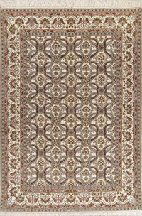 All-Over Floral Isfahan Persian Wool Silk Rug 8x12