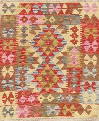 Color-full Geometric Turkish Kilim Rug Wool 3x3 Square