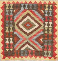Multi-Color Kilim Turkish Oriental Wool Rug 3x3 Square