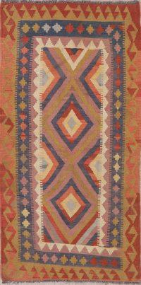 Color-full Geometric Turkish Kilim Runner Rug Wool 3x6