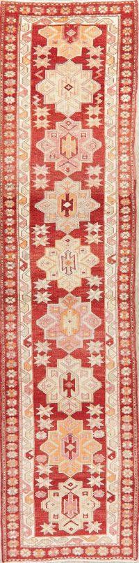 Vegetable Dye Oushak Turkish Oriental Wool Runner Rug 3x12
