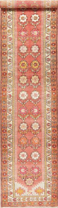 Vegetable Dye Oushak Turkish Oriental Wool Runner Rug 3x13