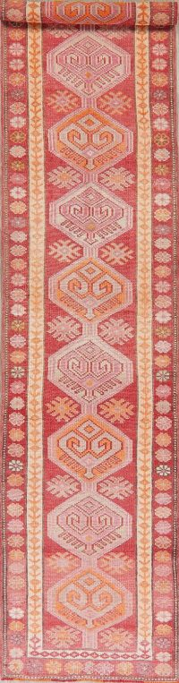 Geometric Oushak Turkish Wool Runner Rug 3x12