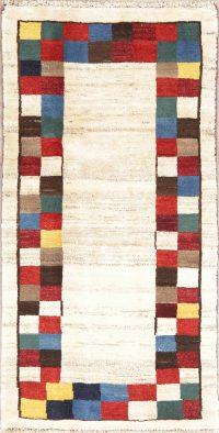 Geometric Ivory Gabbeh Shiraz Persian Wool Rug 3x5