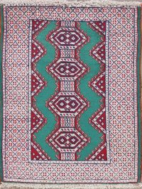 Green Geometric Balouch Persian Wool Rug 2x3