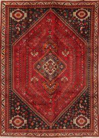 Vintage Geometric Red Shiraz Persian Area Rug 7x9
