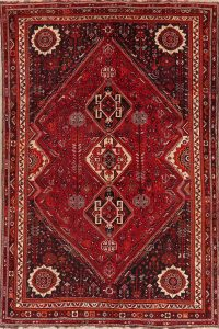 Vintage Red Abadeh Persian Area Rug 7x10