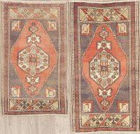 Set of 2 Vintage Red Oushak Turkish Oriental Wool Rugs 2x3