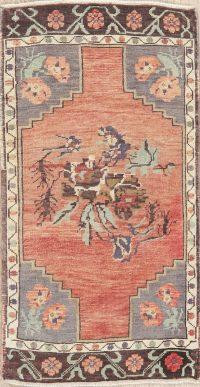 Vintage Red Oushak Turkish Oriental Wool Rug 2x3