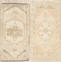 Set of 2 Muted Distressed Oushak Turkish Oriental Rugs 2x3
