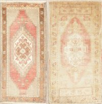 Set of 2 Vintage Oushak Turkish Oriental Wool Rugs 2x3