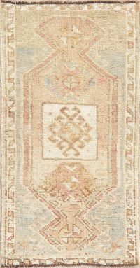 Antique Muted Distressed Oushak Oriental Wool Rug 2x3