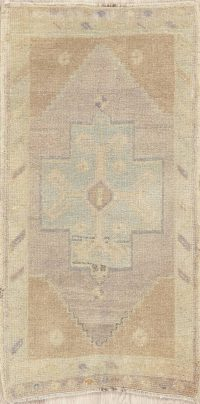 Muted Distressed Vintage Oushak Turkish Wool Rug 2x3